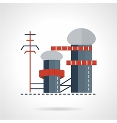 Biomass power plant flat icon vector