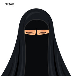 black niqab muslim woman vector image