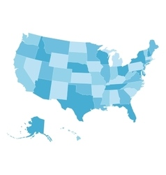 Blank map of USA in four shades of blue vector