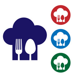Blue chef hat with fork and spoon icon isolated on vector