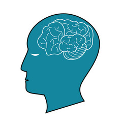 Blue profile head brain idea vector