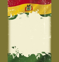 bolivian flag grunge background vector image