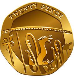 british gold coin twenty pences vector image