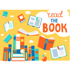 bubble read book with books vector image