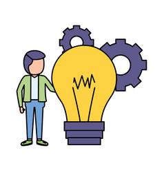 businessman bulb creativity vector image