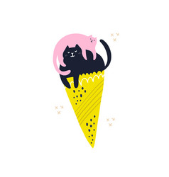 cats in ice cream cone hand drawn vector image