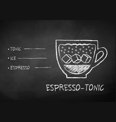 chalk drawn sketch of espresso-tonic coffee vector image