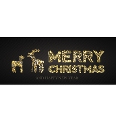 Christmas card with Magic Deer and black vector