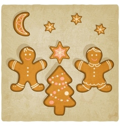 Christmas gingerbread cookies background vector
