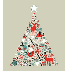 Christmas icons pine tree vector image