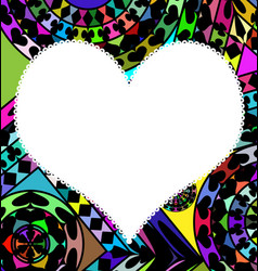 Colored abstract and white heart vector