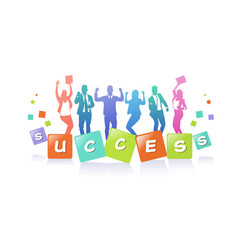 colourful business people silhouette group of vector image