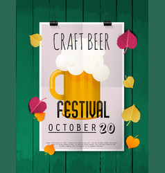 Craft beer festival two hands holding beer glass vector