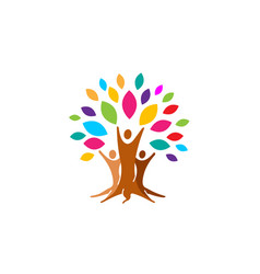 Creative colorful people tree logo vector