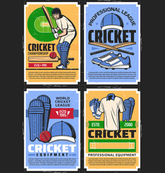 cricket sport equipment and league championship vector image