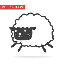 cute black little sheep icon vector image