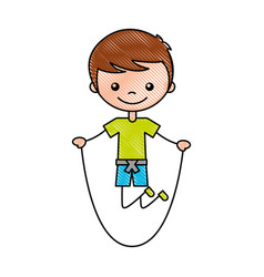Cute boy jumping rope character icon vector