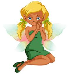 Cute fairy in green dress vector
