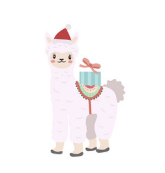 cute llama christmas icon flat cartoon style vector image