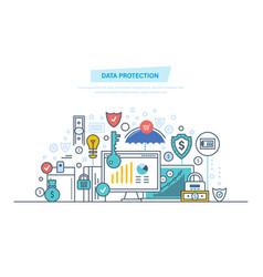 Data protection antivirus software privacy safe vector