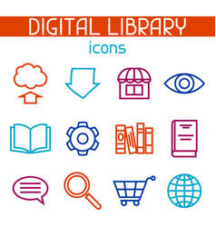 digital library icon set e-books reading and vector image