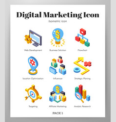 Digital marketing icons isometic pack vector
