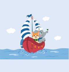 dog and baby elephant on ship vector image