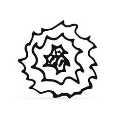 doodle rose icon isolated on white outline kids vector image