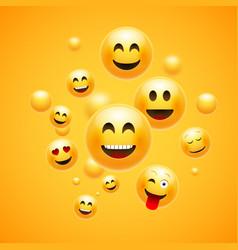 emoji 3d emoticon background cartoon face group vector image