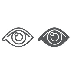 eye line and glyph icon anatomy and biology vector image