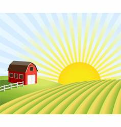 Farm and fields at sunrise vector
