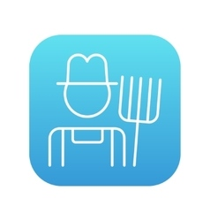 Farmer with pitchfork line icon vector image
