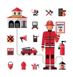 Fire Department Flat Icons Set vector