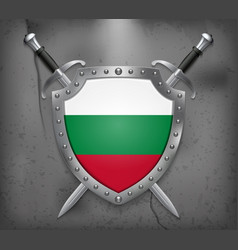 Flag of bulgaria the shield with national flag vector