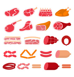 flat of meat products vector image vector image