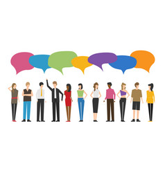 flat style people discuss social network news vector image