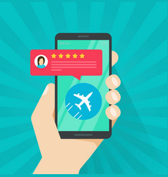 flight review or feedback online from smartphone vector image