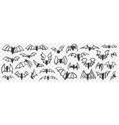 flying bats at night doodle set vector image