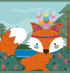 Fox cute hippie cartoon vector