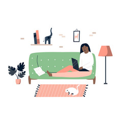 freelancer woman with laptop working from home vector image
