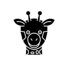 funny giraffe black icon sign on isolated vector image