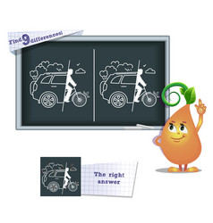 Game find 9 differences draw car free vector
