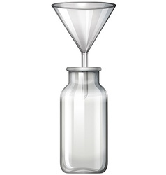 Glass bottle and funnel vector