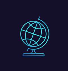 Globe icon in linear style with gradient vector