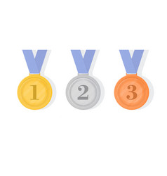 Gold silver and bronze award medals with ribbons vector