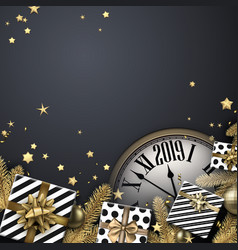 Grey 2019 new year background with gifts and clock vector