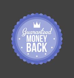 Guaranteed money back blue badge vector