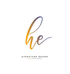H e he initial letter handwriting and signature vector