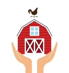 hands with red barn icon vector image