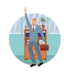 happy executive businessman cartoon vector image